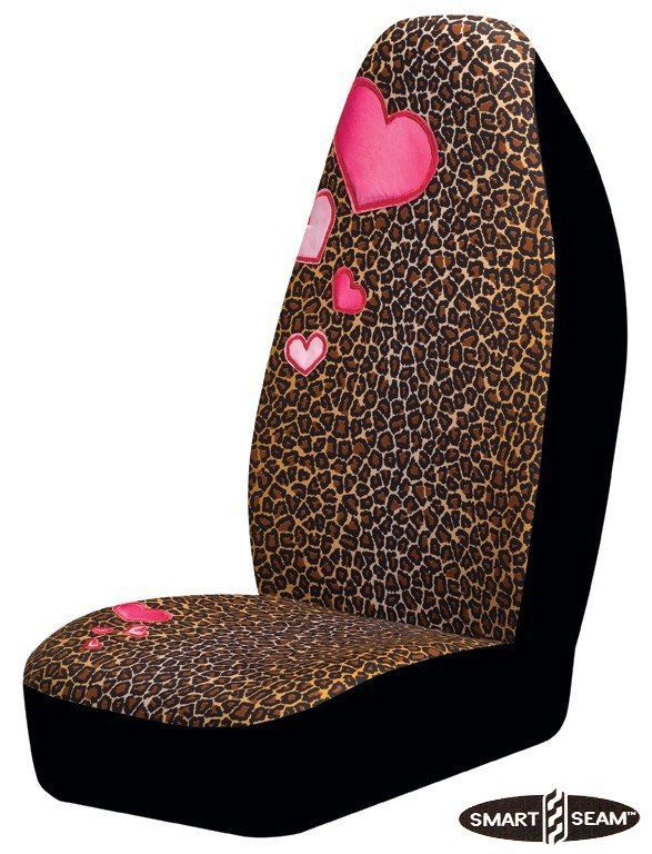 Decorative Leopard Pink Heart Car Seat Cover For Girls