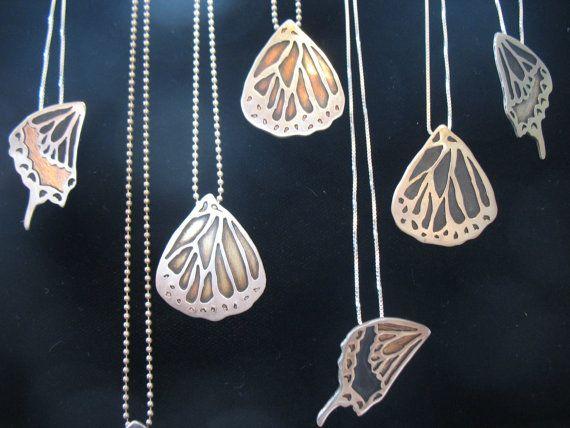 Personalized Monarch Butterfly Wing Necklace by EyvindsAlchemy