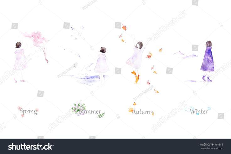 Four Seasons - winter, spring, summer, autumn.  Beautiful girls - illustration. @knyshksenya #illustration #illustrator #ksenyaknysh #watercolor #girl #flowers #nature #illustration #art #mothersday #valentine #wedding #season #summer #spring #winter #autumn