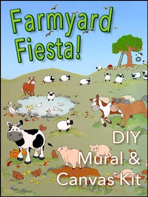 DIY Wall Mural & Canvas Pattern Kit - comes with 9 patterns that form one big mural, and one pattern with lots of different kinds of sheep! Each kit includes 8 pages of tips and examples, and there's a series of great how-to videos on our website.