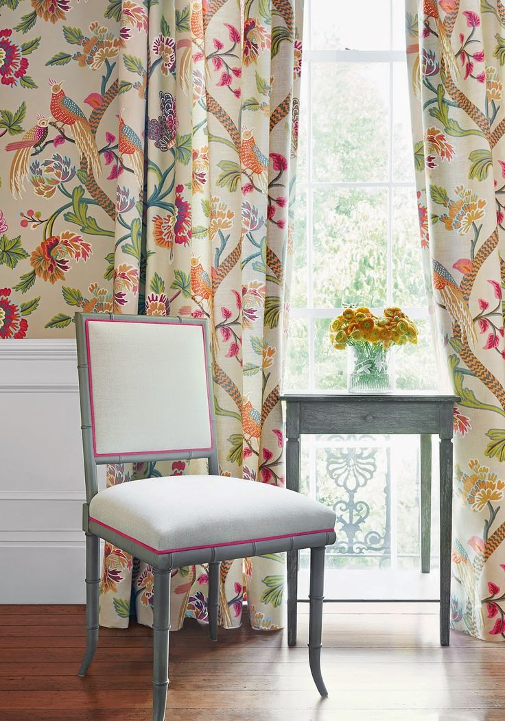 Janta Bazaar Wallpaper & Fabric in Flax. Tropical Bird wallpaper with matching fabric.