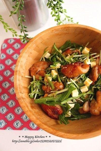 デリ風!チキンと水菜の胡麻だれチーズサラダ