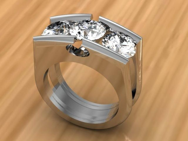 3 Stone Diamond Tension Set RIng | Raddest Men's Fashion