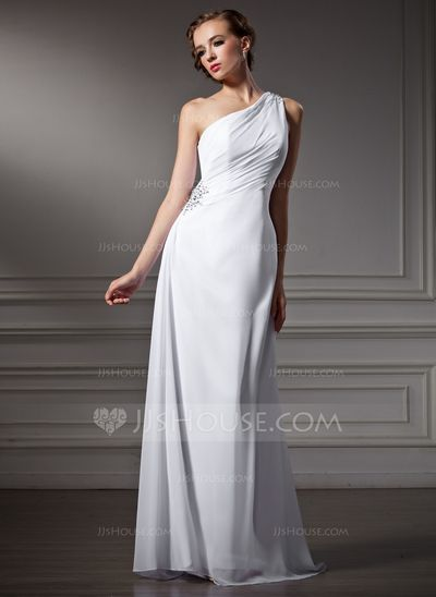 Wedding Dresses - $122.19 - Sheath/Column One-Shoulder Sweep Train Chiffon Wedding Dress With Ruffle Beading (002011746) http://jjshouse.com/Sheath-Column-One-Shoulder-Sweep-Train-Chiffon-Wedding-Dress-With-Ruffle-Beading-002011746-g11746