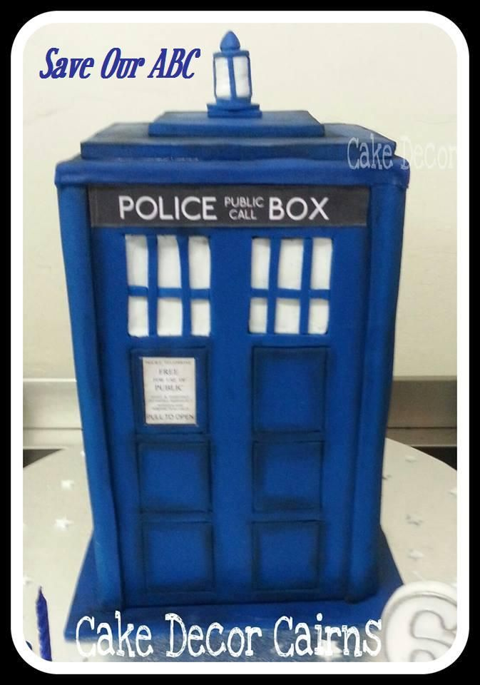 """TARDIS  Doctor Who Cake  by Cake Decor in Cairns In Australia we are losing funding to our independent television channel The ABC. I am starting a collection of photos from our local  Cake Decor in Cairns home baking mums and dads to support the facebook page (not run by me) """"Australians Baking Cakes for the ABC.  http://www.cakedecorcairns.com/2014/06/australians-baking-cakes-for-abc.html"""