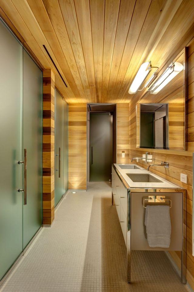 Badezimmer Waschbecken Glas Trennwand Wandgestaltung Holz Maserung