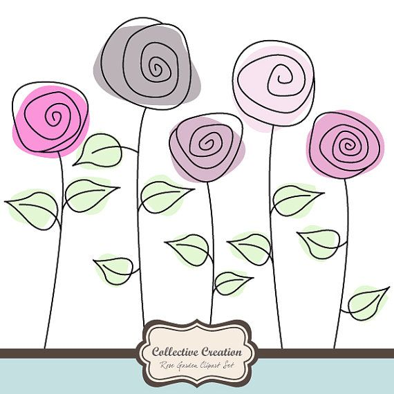 Wild Rose Garden Clipart set - Great for Scrapbooking, Cardmaking and Paper Crafts.