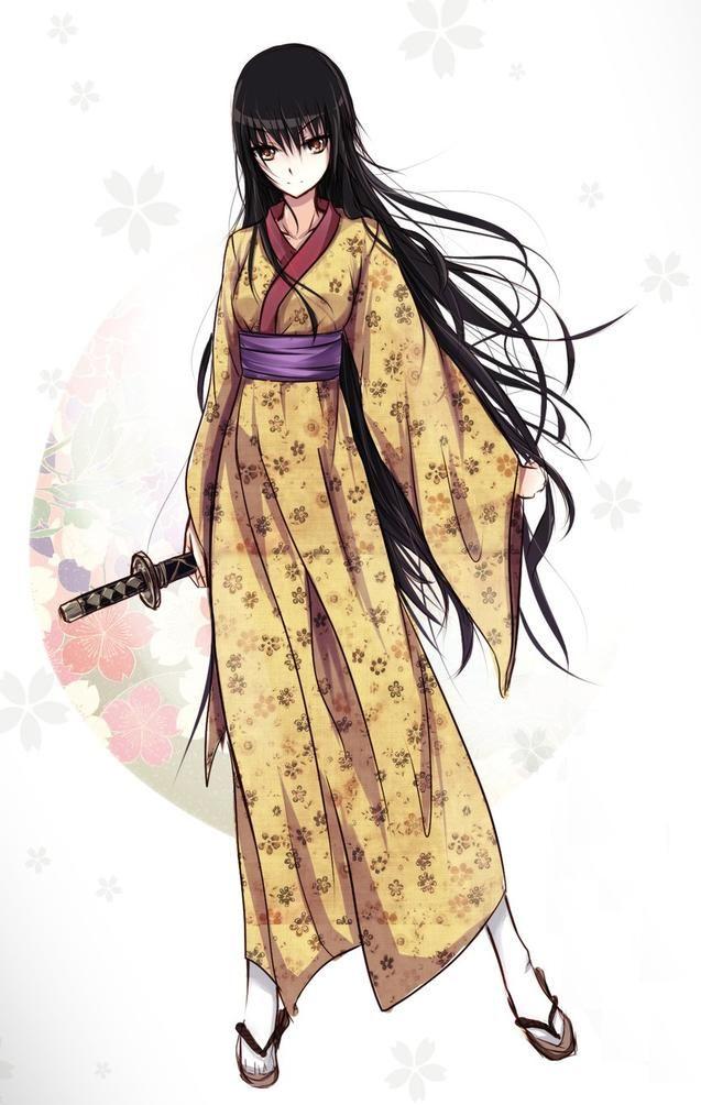 Anime Characters Kimono : Girl katana yellow kimono anime pinterest