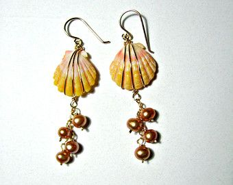 Sunrise Shell Earrings, Hawaii Seashell Earrings, Beachy Earrings, Gold Pearl Earrings, Champagne, Beach Wedding, Rare Hawaiian Shells