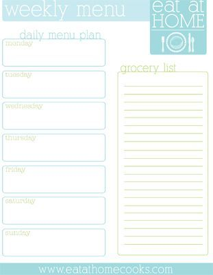 Do you like to plan your menu and grocery list on paper? This free download has one side listing the days of the week with room to plan your meals.  The other side is for the grocery list. Click he...