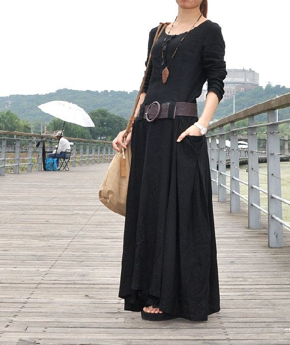 Black linen dress full length maxi dress big by Dressbeautiful