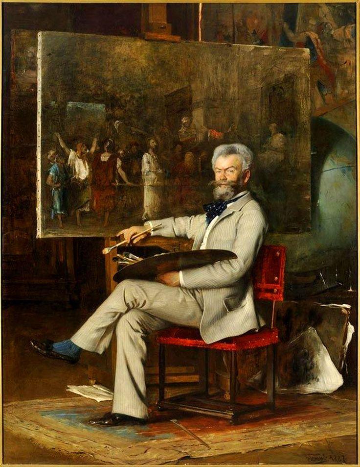 Hans Temple: Munkácsy Mihály portréja (A Krisztus Pilátus előtt című festményén dolgozik, 1887)