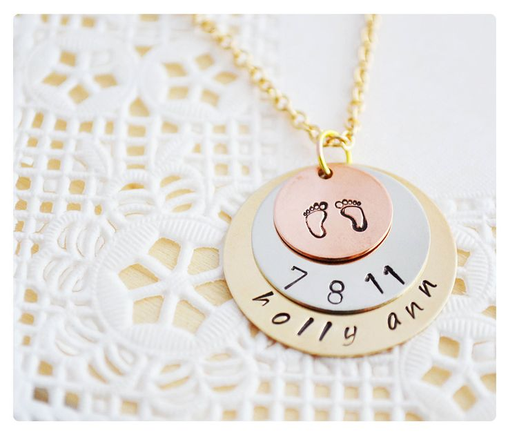 New Mom Necklace - Mom Jewelry - Grandma Necklace - Baby Shower Gift - Birth Announcement - Gold Filled, Sterling Silver, Copper. $63.00, via Etsy.