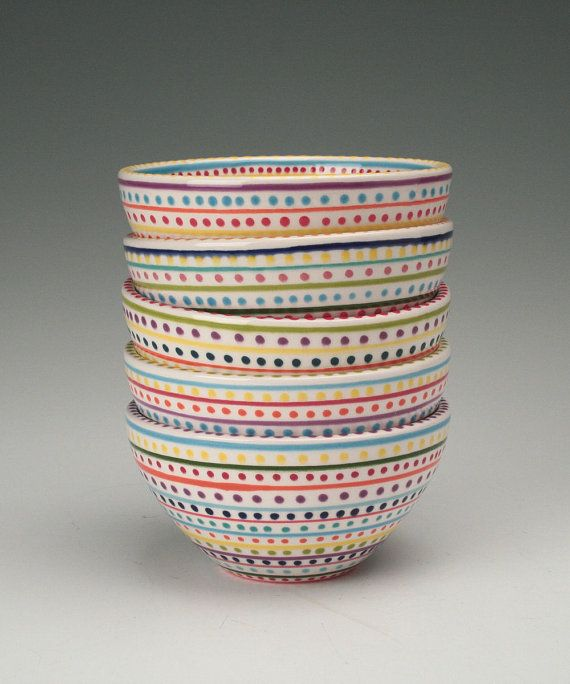 Stripes and Dots Hand Painted Bowl Multicolor Dinnerware on Etsy, £12.45