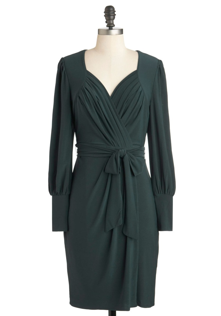 Parks and Adoration Dress by Darling - Mid-length, Solid, Belted, Work, Long Sleeve, Fall, Green, Ruching, Wrap