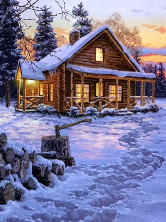 17 best images about puzzles i want on pinterest lakes for Log cabin painting