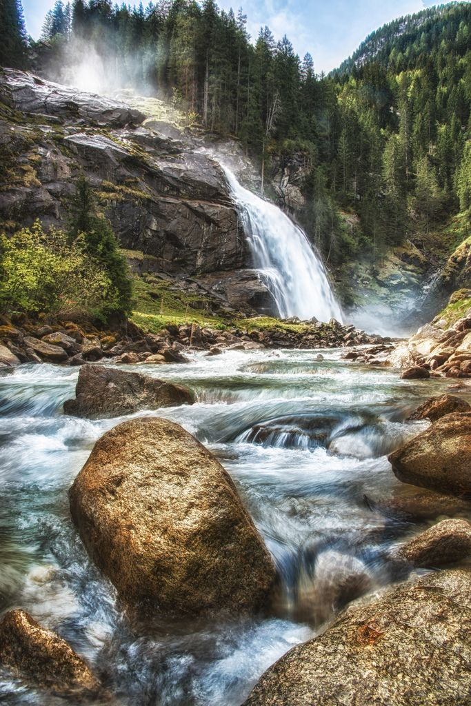"""The Krimml Falls are, added together, 385m (1263 ft.) high, therefore the highest falls in Austria and one of the highest falls in Europe. The Falls are located in the Tauern Alps and the """"Hohe Tauern National Park"""" .  . . . . . . . . . . .  . . . Please click to see it in the LIGHTBOX . . . . . . . . . . . . looks muuuch better. PROMISE !"""