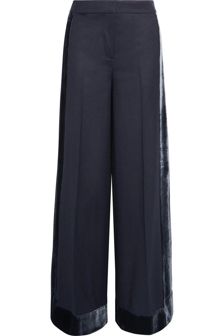 J.Crew | Laney velvet-trimmed wool wide-leg pants | NET-A-PORTER.COM