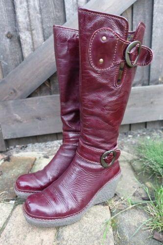 Fly-London-violet-en-cuir-de-brevet-bottes-compensees-Vale-taille-39-taille-uk-6