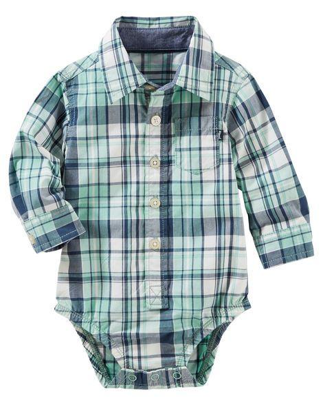 Plaid Button-Front Poplin Bodysuit
