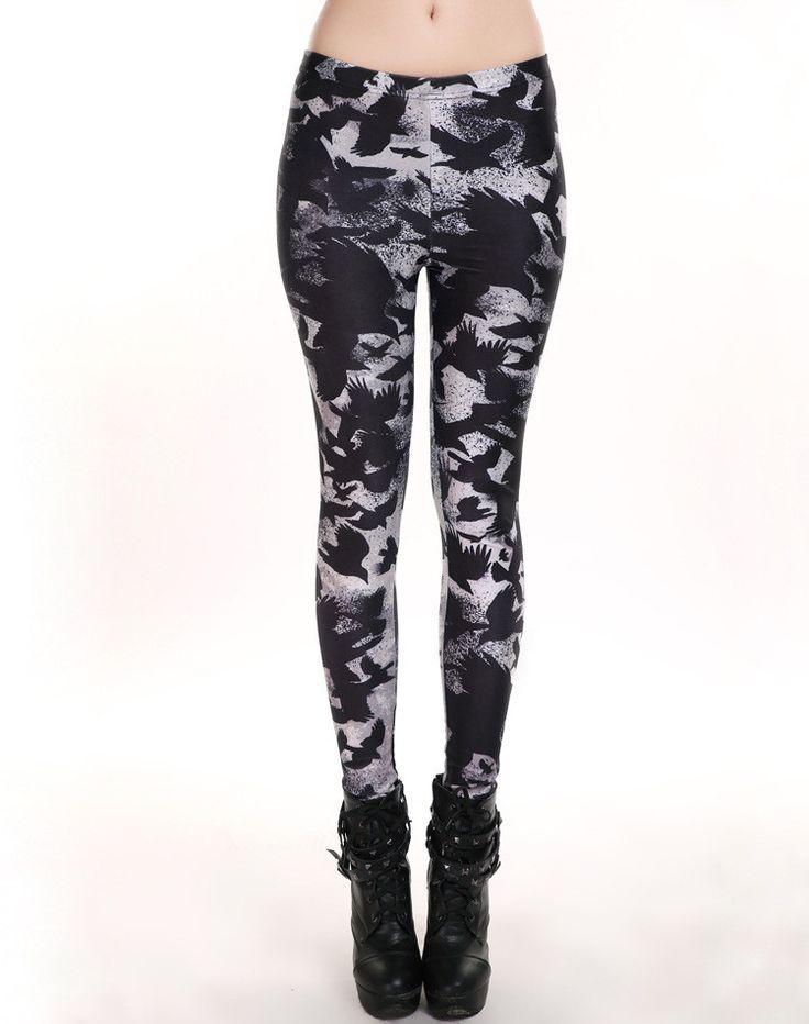Womens Trendy Black Bird Scarecrow Hip Leggings