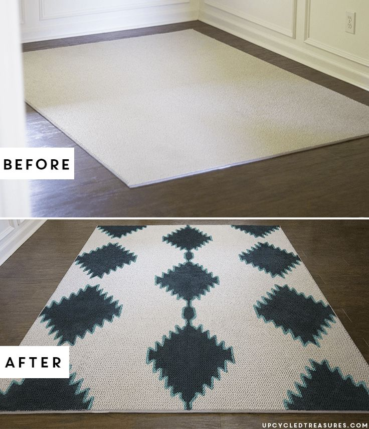 PIN this for later! See how easy it is to transform a boring rug into a custom piece with paint! DIY Painted Rug | UpcycledTreasures.com