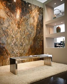 granite and quartz retail showroom - amazing granite wall.  Could watch this for hours!  Piece of art