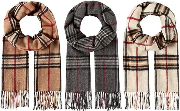 Vincenzo Boretti 1120 Classic Fringed Check Wool & Cashmere Scarf: http://amzn.to/2zYgGST | in camel beige, grey and ivory (Burberry dupes)