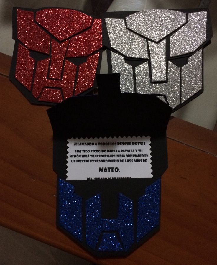 Invitaciones transformables!!!!! Ideales para fiestas tema de transformers.
