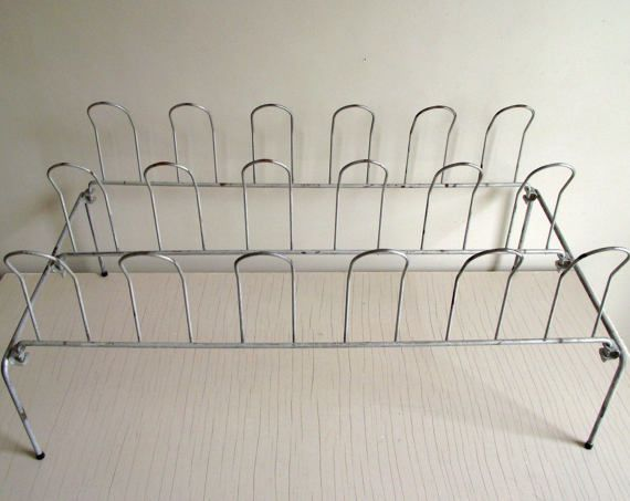 Vintage Metal Shoe Rack  Shoe Organizer  Closet Shoe by gazaboo