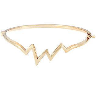 14K Gold Large Polished Heartbeat Design Bangle