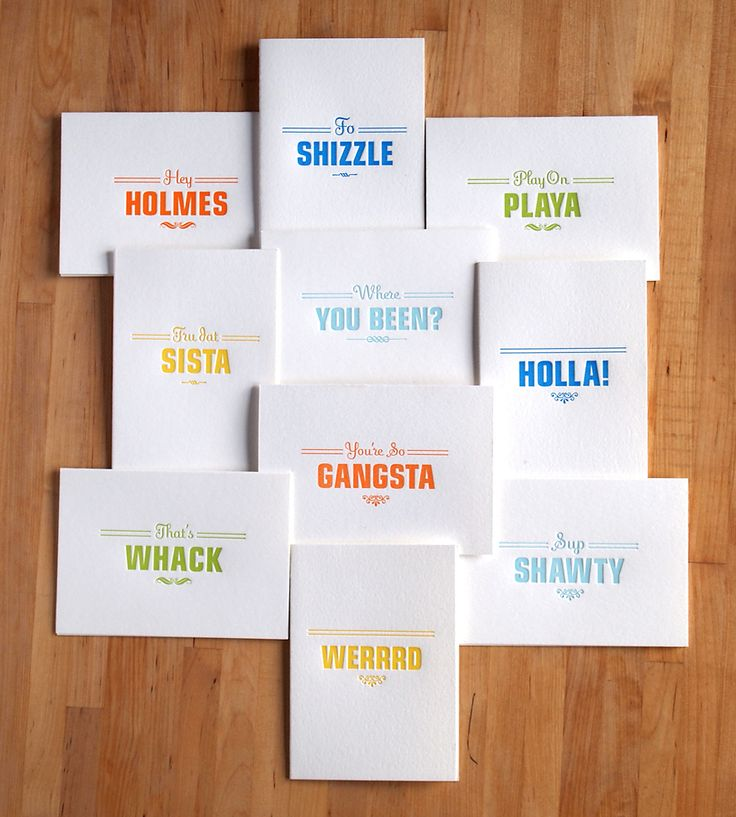 Gangsta Letterpress Cards – Pack of 10 by Farewell Paperie on Scoutmob Shoppe. Send a little love with these street cred-worthy letterpressed cards. // @Cortney Hood Carter I feel like these were made for you.