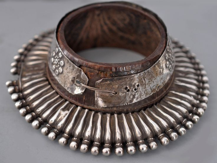 Bracelet, Rajasthan, India, wood covered silver, 19th C.