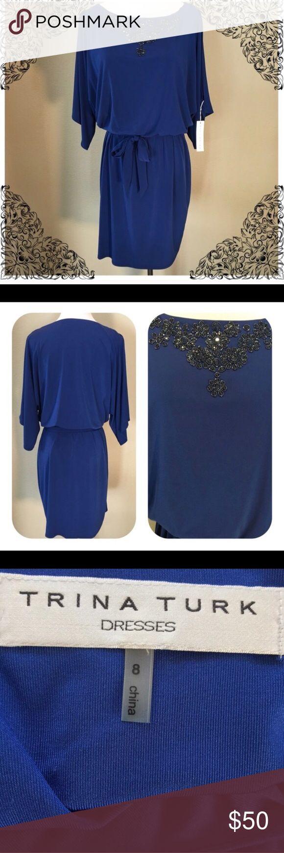 New with tags Cobalt Trina Turk dress RePosh. New with Tags Cobalt Blue Trina Turk dress Beautiful beaded neckline. Short Sleeves with cutouts. Trina Turk Dresses