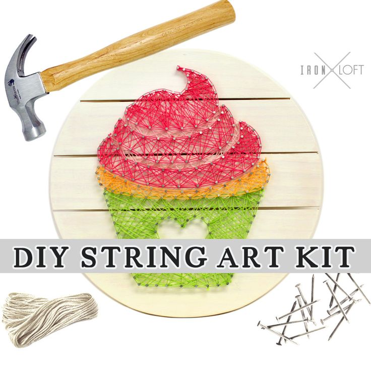 DIY Cupcake String Art Pallet Sign Kit This kit is perfect for fun times together with children and adults. We recommend ages 10 and up. Use our cupcake template or create your own design! With 36 skeins of embroidery cord in 18 different colors its easy to make this string art pallet