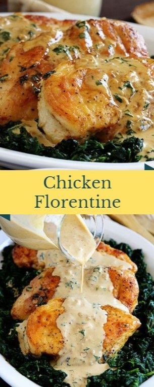 Chicken Florentine  Yellow Florentine is fearful that lies on a bed of spinach l…
