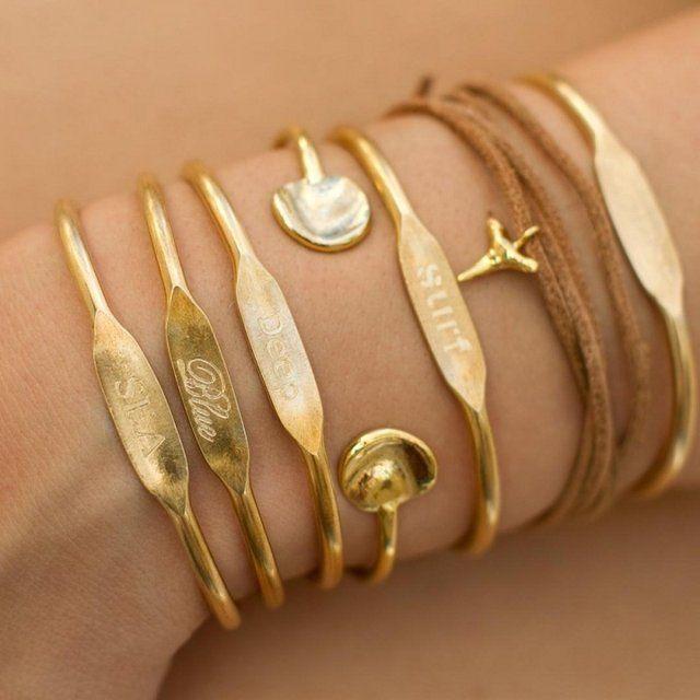 Personalized Brass Cuff Bracelets by Jook & Nona