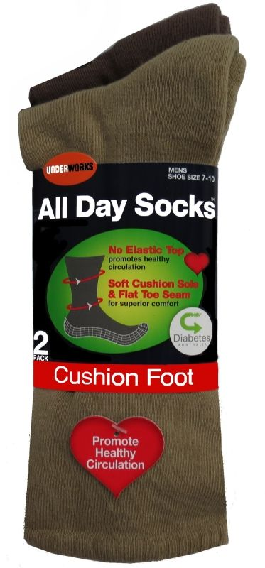 Socks - Mens all day taupe diabetic, cushioned (6 pr), Assistive Style $40