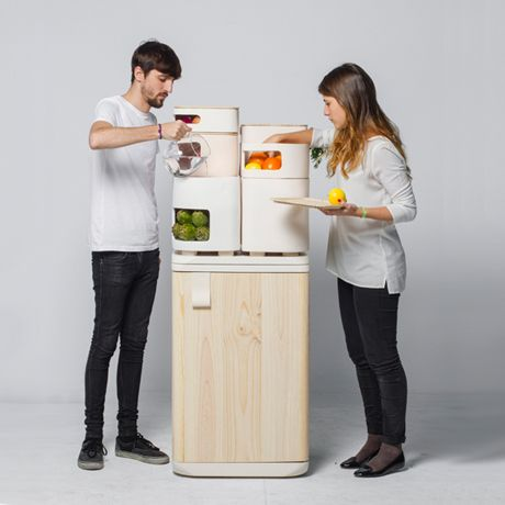 "Oltu fridge (2012), Designed by Fabio Molinas.   ""A new concept of fridge that keeps fruits and vegetables better and for a longer time through ceramic containers that use the heat emitted from the refrigerator in the bottom to provide the ideal temperature and humidity for these foods"""