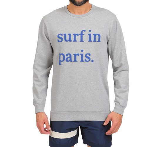 SURF IN PARIS SWEATSHIRT COLOR MELANGE GRAY Mélange gray cotton scoop neck sweatshirt with 'Surf in Paris' cotton terry writing on front. Long sleeves, scoop neck. COMPOSITION: 100% COTTON. Model wears size L, he is 189 cm tall and weighs 86 Kg.