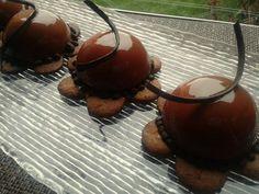 DelizioseSemisferedi cremoso alle castagne con glassa al caramello e cioccolato su fiore di frolla alle castagne e zucchero grezzo...