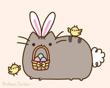 Pusheen the cat as the easter bunny. Hanging with little chicks. :) Aww! <3 happy easter everyone! :)