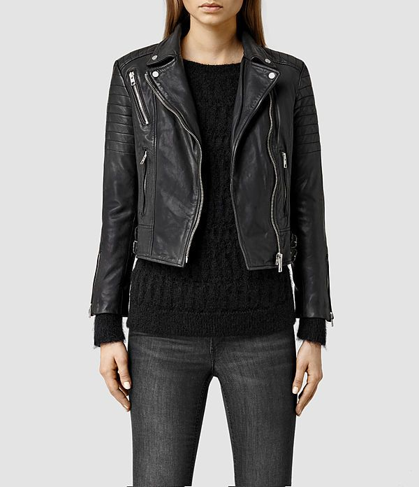 Women's Papin Leather Biker Jacket (Black) -