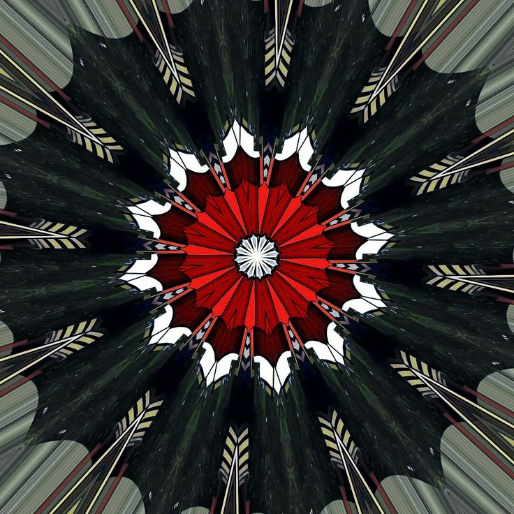 drawing, illustration, digital art abstract mandala flower bloom contrast red green kaleidoscope mirror