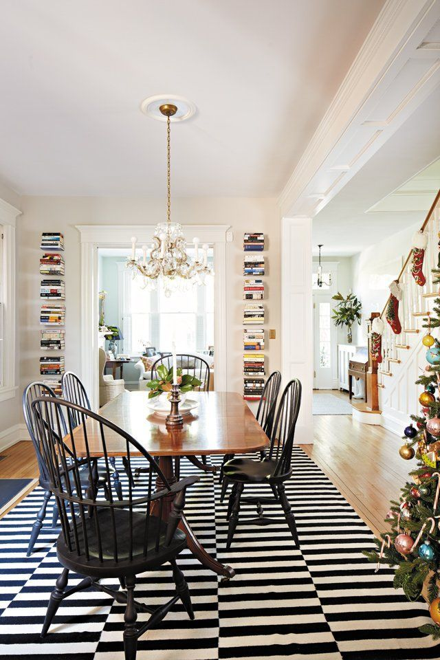 Striped Ikea Rug Adds A Contemporary Touch Under The Traditional - Traditional dining table with contemporary chairs