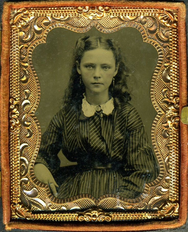 Girl. Between 1860 and 1870.  What a face. She looks like a character in a story that I'd like to write, but haven't thought of, yet. I would imagine that someone with so much spunk and defiance in her gaze would've lived life on her own terms, but that's wishful imagining, I know. I think it's sweet that her hair is imperfectly done.
