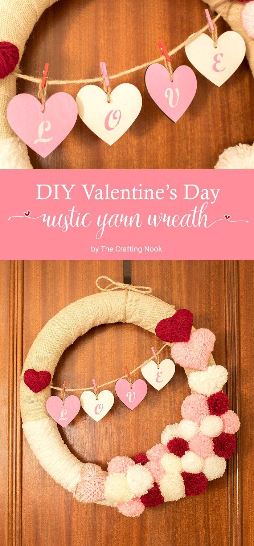 DIY Valentine's Day Rustic Yarn Wreath