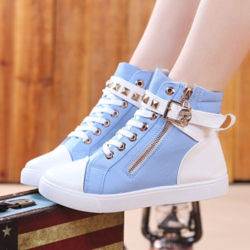 New Women s High Top Sneakers Lace Up Zipper Crossbone Rivet Canvas Punk Shoes | eBay