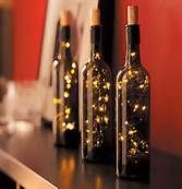 wine bottle centerpieces for Christmas party's