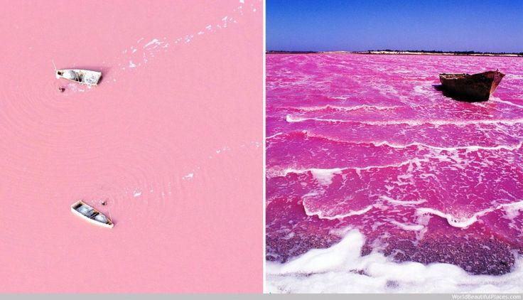 LAC RETBA, SÉNÉGAL  La couleur du lac est due à la réaction d'un micro-organisme qui fabrique un pigment rose pour se défendre de la forte c...